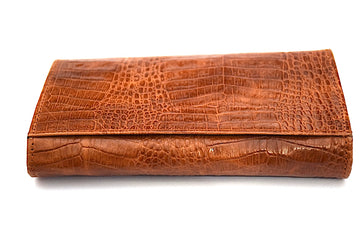 Croc Style Leather Clutch - Brown - DublinLeather