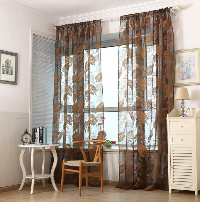 1 PC Leaf Tulle Door Window Curtain Drape Panel Sheer Scarf Valances XT