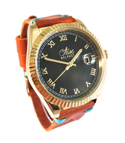 AWC BELFAST MARITIMER (GOLD & TAN LEATHER TURQUOISE STITCH)