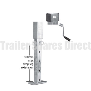 Heavy-duty side winding adjustable stand with drop leg and loose handle - 70mm square