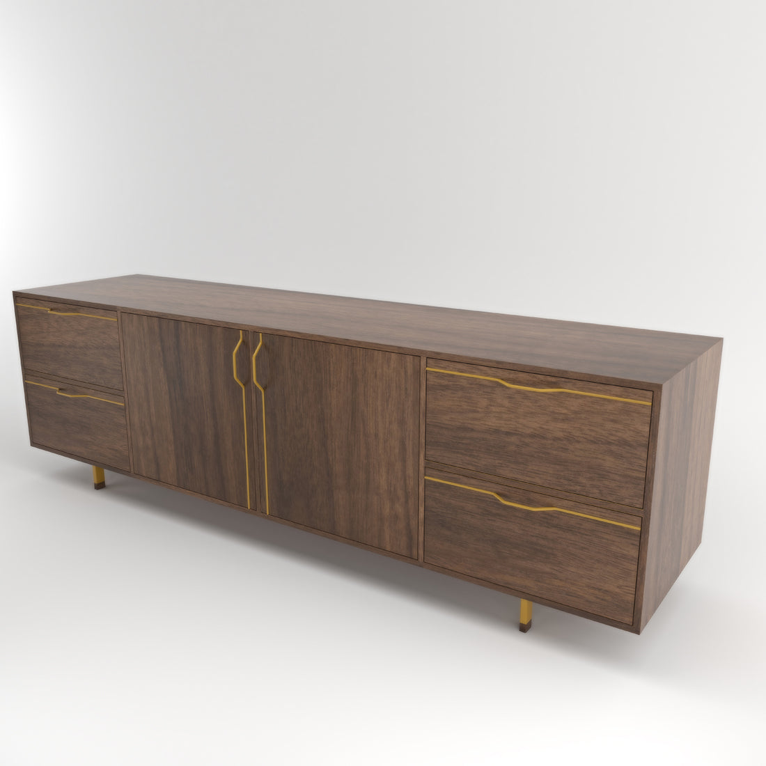 Chapman Walnut Large Credenza Storage Unit w/ Doors & Drawers