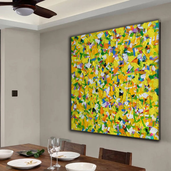 Yellow, Green, White, Blue and Red ORIGINAL Modern Abstract Painting