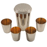 Vintage German Chrome Nested Cocktail Shaker & Shot Glass Travel Bar Set, The Hour