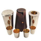 Vintage German Nested Cocktail Shaker & Cups Leather Case Travel Bar Set | The Hour