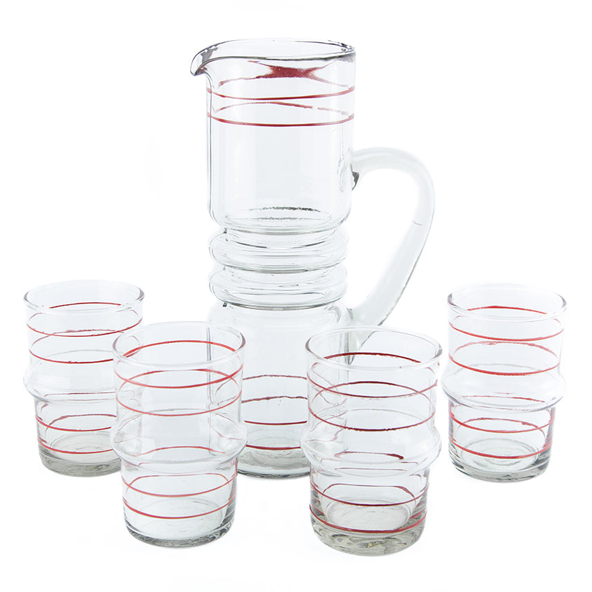 Red & White Pinstripe Pitcher Set | The Hour Shop Vintage