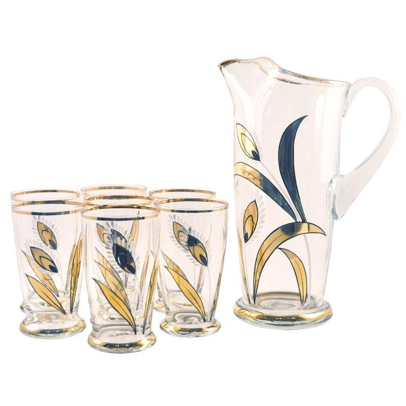 Gold Wheat Cocktail Pitcher Set, The Hour Shop Vintage Barware and Glassware