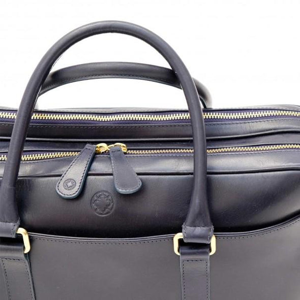 Leather Briefcase | Leather Laptop Bag | Fat Carter Navy - Zip Closure