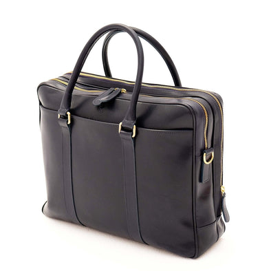 Leather Briefcase | Leather Laptop Bag | Fat Carter Navy - Side