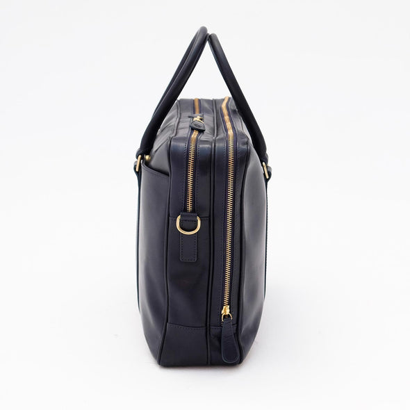 Leather Briefcase | Leather Laptop Bag | Fat Carter Navy - Right