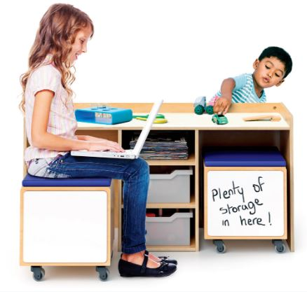Whitney Brothers WB1679 STEM Activity Desk And Mobile Seating Bins Set