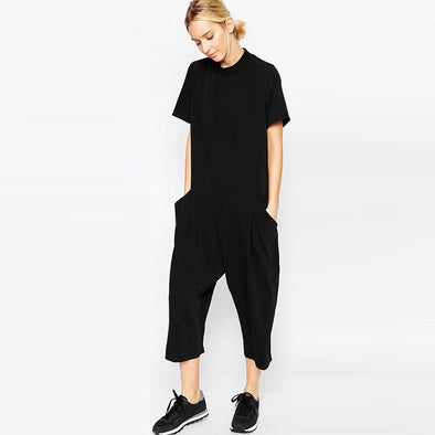 Womens jumpsuit Elegant side pocket loose-fitting