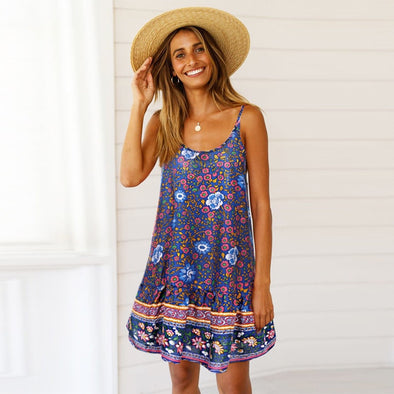 Women's Summer Boho Dress Evening Sleeveless Party Beach Dresses Women Floral Elegant Short Dress Vestidos 2019 Summer Style