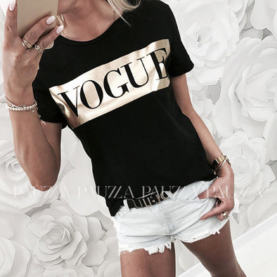 Womens Casual Short Sleeve Tops Summer Vogue Slogan Printed Tee shirt