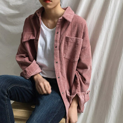 Yanueun Stylish Solid Long Sleeve Blouse Spring Autumn Corduroy Loose Turn down Collar Button Pocket Casual Tops Blouses