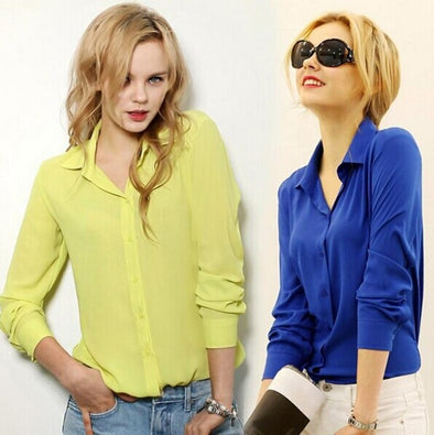 work wear women shirt blouse casual solid elegant ladies chiffon office blouse top new