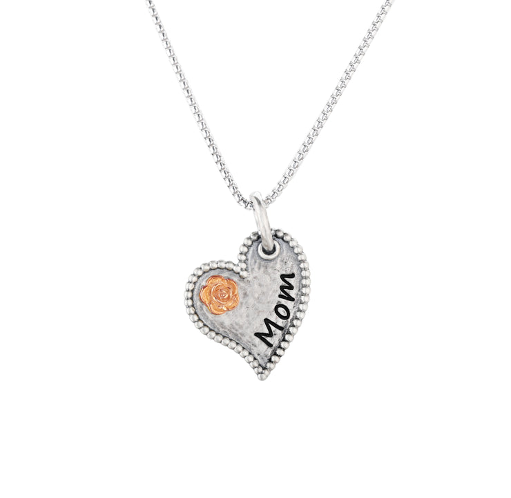 Sterling Silver Heart Design Engraved Pendant Necklace - Mother's Day - MOM  - Paz Creations Jewelry