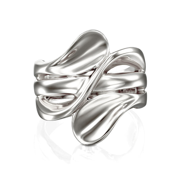 Sterling Silver Silver Bypass Ring  - Paz Creations Jewelry