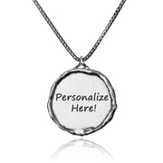 Sterling Silver Personalized Pendant Necklace - ROUND PENDANT  - Paz Creations Jewelry