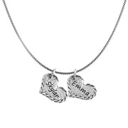 Sterling Silver Personalized Necklace - Double HEART - Engravable  - Paz Creations Jewelry