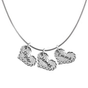 Sterling Silver Personalized Necklace - Triple heart - Engravable  - Paz Creations Jewelry