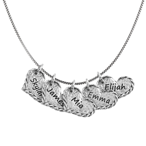Sterling Silver Personalized Necklace - FIVE hearts - Engravable  - Paz Creations Jewelry
