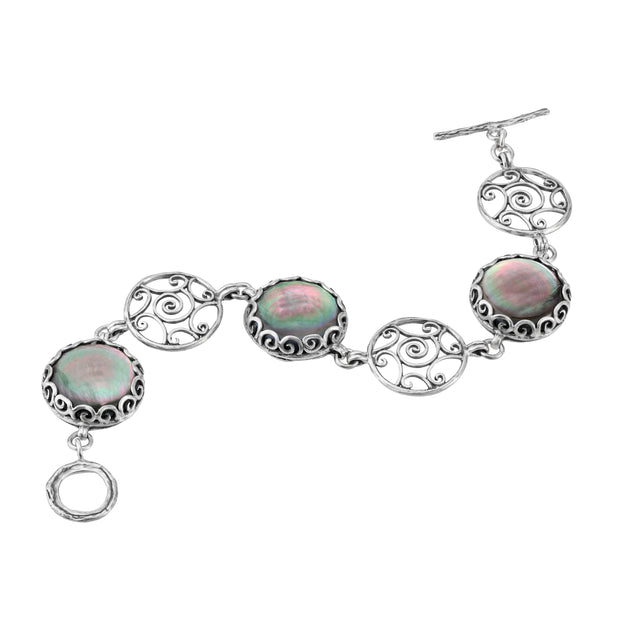 Silver Bracelet with Mother Of Pearl Charms - Black & Pink  - Paz Creations Jewelry
