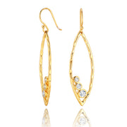 14K Gold Plated Earrings - Marquise Shaped - Cubic Zirconia  - Paz Creations Jewelry