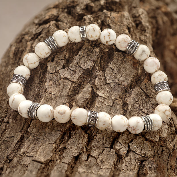 Men\'s Gemstone Beaded Bracelet - White Magnesite or Navy Blue Lapis  - Paz Creations Jewelry