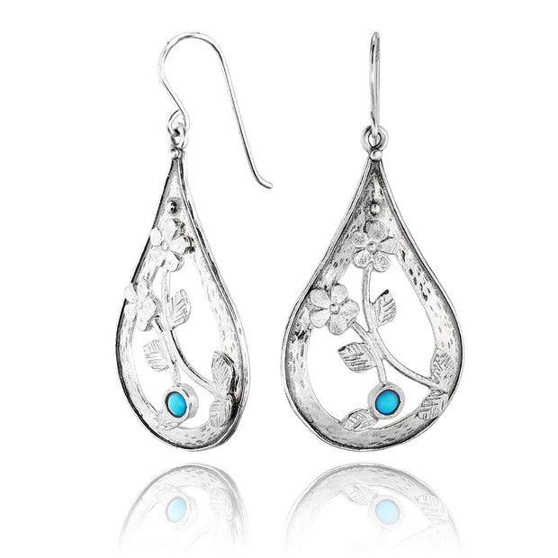 Sterling Silver Turquoise Pear Shaped Dangle Earrings - Available in Gold or Silver Finishes  - Paz Creations Jewelry