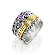 Sterling Silver Gemstone Spinner Ring  - Paz Creations Jewelry