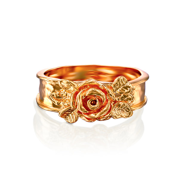 14K Gold Ring with Yellow or rose Gold Plating over Sterling Silver  - Paz Creations Jewelry