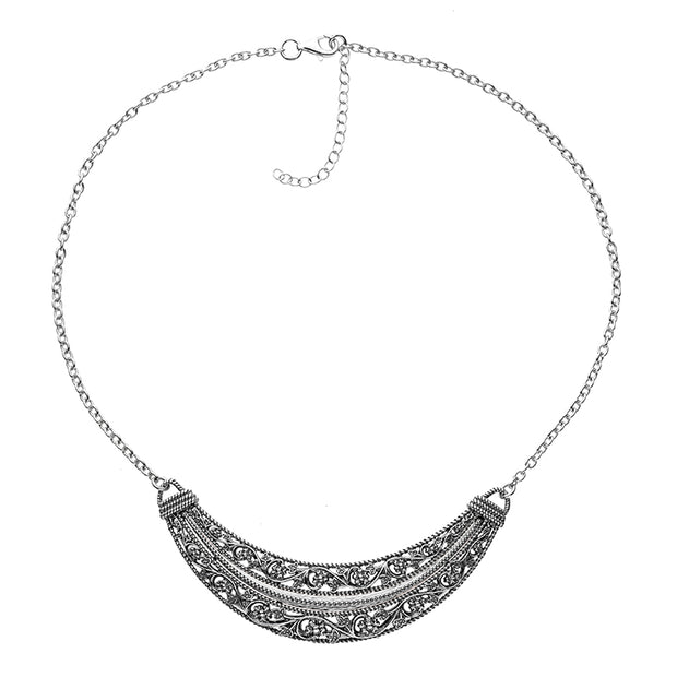 Silver Floral Lace Design Necklace  - Paz Creations Jewelry