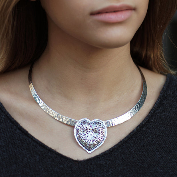Sterling Silver Heart Shaped Pendant, Made in Israel  - Paz Creations Jewelry