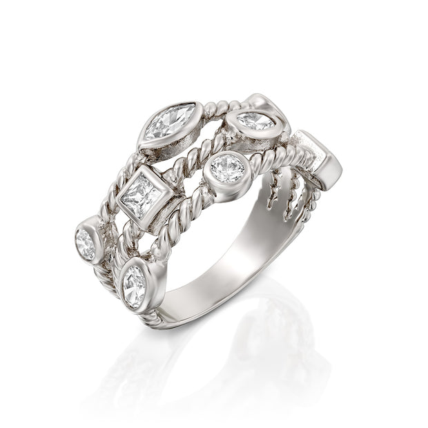 Silver Cubic Zirconia Triple Row Band Ring  - Paz Creations Jewelry
