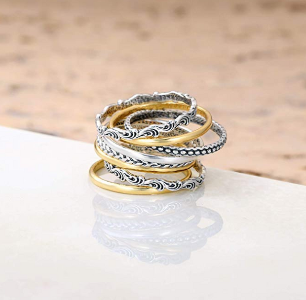 Sterling Silver Stack Ring Set - 8 Stack rings  - Paz Creations Jewelry