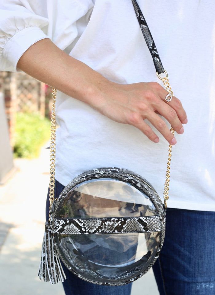 Coco Circular Clear Bag- Snake Grey- P12801-SNK.GRY