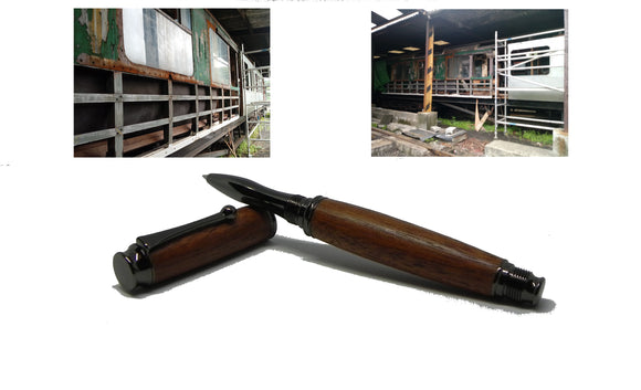 Rollerball pen in African Mahogany from W2180 Railway carriage-Roller Ball-DevonPens