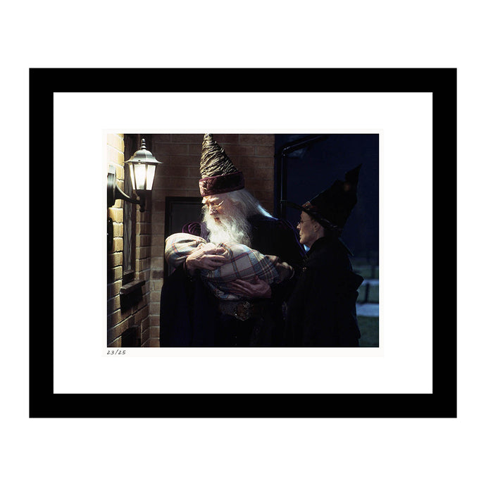Professor Dumbledore and Professor McGonagall with baby Harry Framed Print from Harry Potter and the Sorcerer's Stone