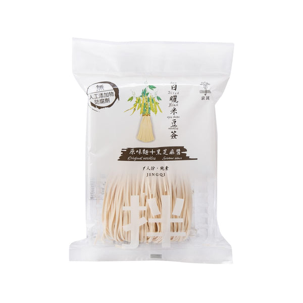 JINGQI Sun Dried Black Eye Bean Noodles - Original Noodle + Black Sesame Sauce  (120g)