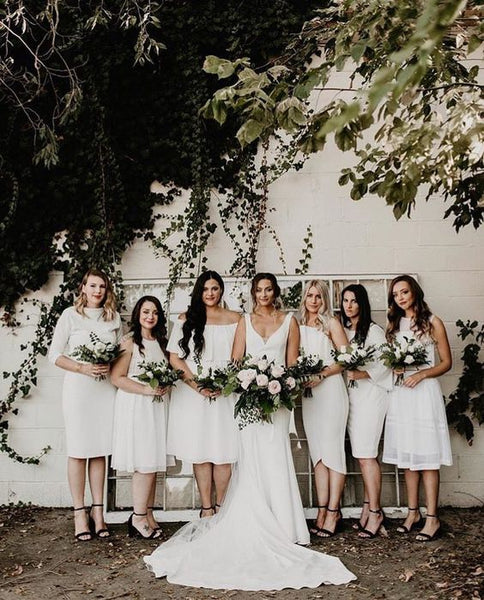 white bridesmaid dresses maid of honor bride