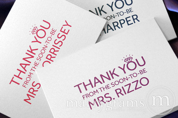 Thank You From The Soon-To-Be Mrs. Colorful Bling Custom Card