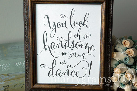 Oh-So Handsome Men's Restroom Wedding Sign Whimsical Style