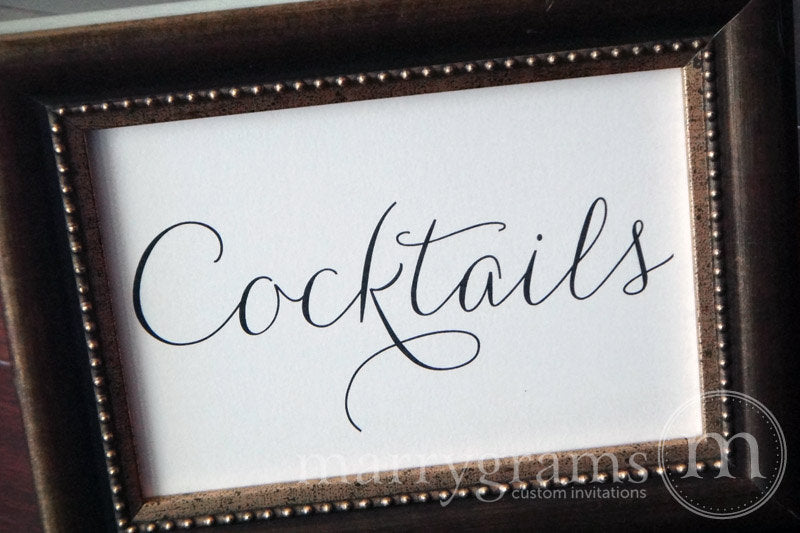 Wedding Cocktails Sign Thin Style