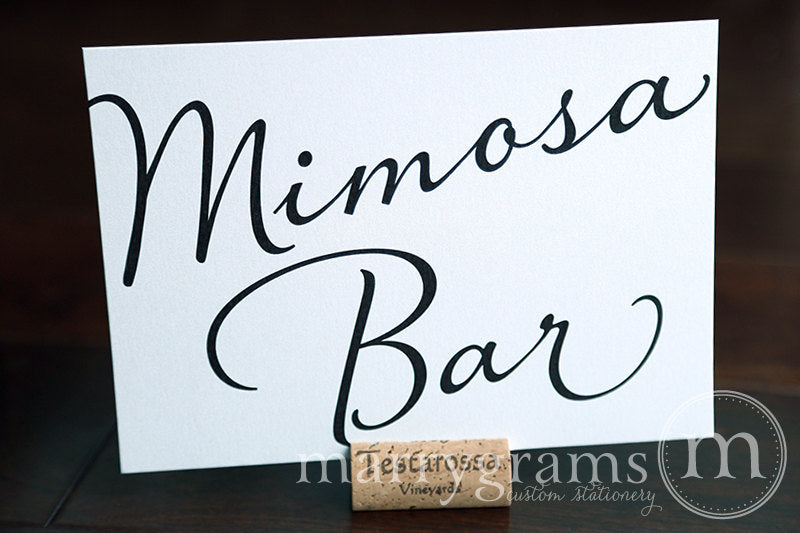 Mimosa Bar Wedding Drinks Sign Diagonal Style