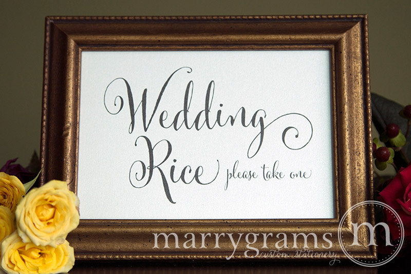 Wedding Rice Send Off Sign Whimsical Style
