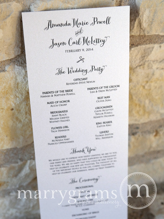 Flat Wedding Program Thick Style