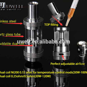 Crown Uwell Sub-Ohm Tank - Uwell - Rose Gold, Black or Silver / The Original