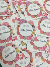 personalised gift labels in pretty pink flowers