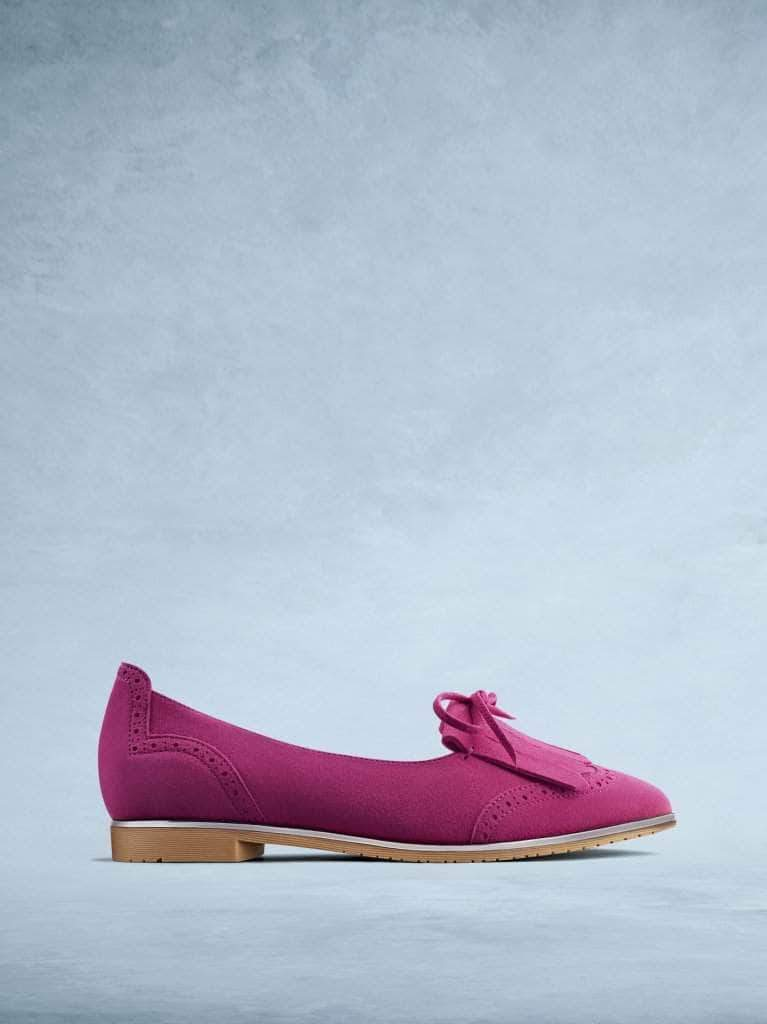 Lamorna is our sophisticated ballet pump made from statement soft pink suede.
