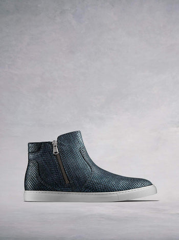 Parsonage Blue Snake Embossed Metallic Leather - Hi-top ankle boot trainer.